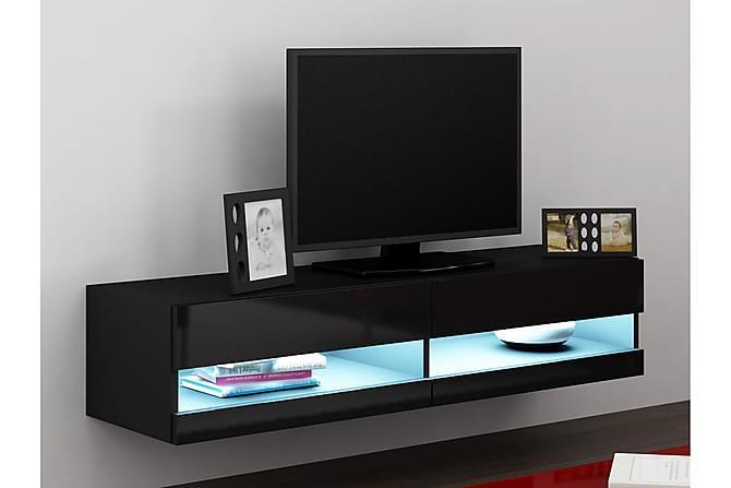 Vasil TV-benk med LED 180 cm - Svart - Møbler - Oppbevaring