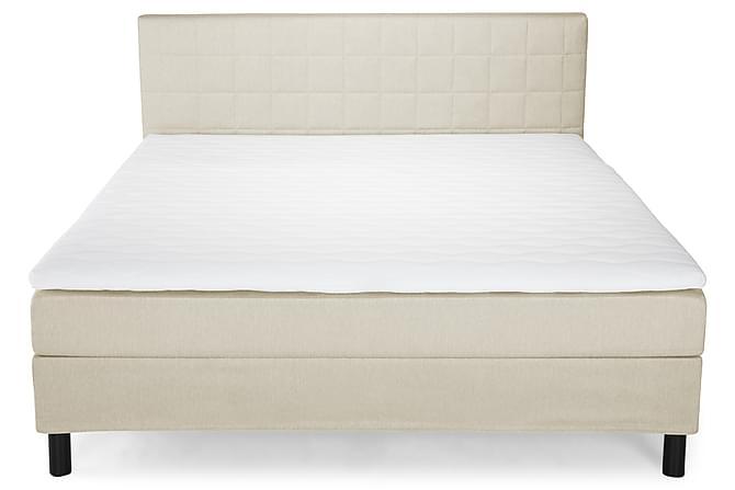Happy Komplett Sengepakke Quiltet Sengegavl - 180x200 cm Beige - Møbler - Senger - Komplett sengepakke