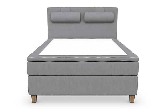 Superior Lyx Komplett Sengepakke 120 cm Lysegrå - Eikeben - Møbler - Senger - Komplett sengepakke