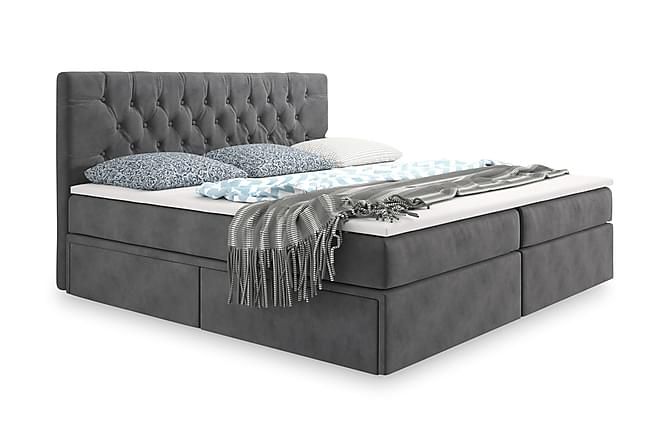 Velluto Oppbevaringsseng 160x200 - Grå - Møbler - Senger - Komplett sengepakke