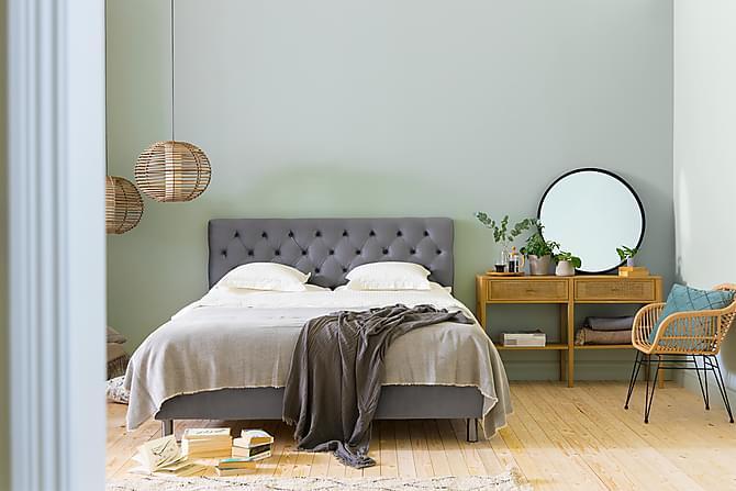 Ella Sengepakke 160x200cm Dypheftet Sengegavl - Lysegrå / Fløyel - Møbler - Senger - Komplett sengepakke