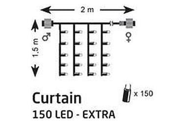 Chrissline Draperi Lyslenke LED 2x1,5 m 150L Ekstra
