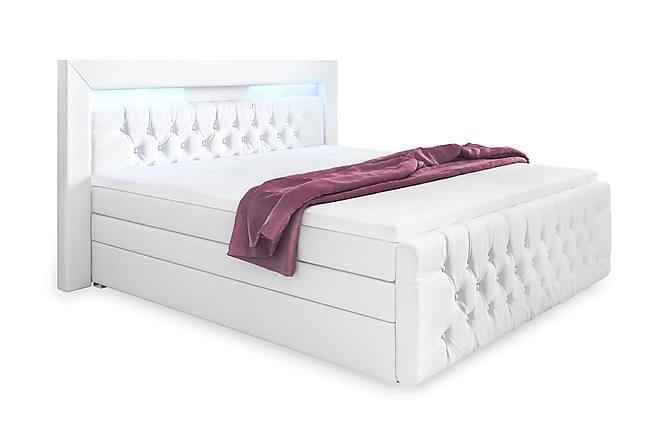 Franco Lyx Sengepakke 160x200 LED-belysning - Hvit/Kunstlær - Møbler - Senger - Komplett sengepakke