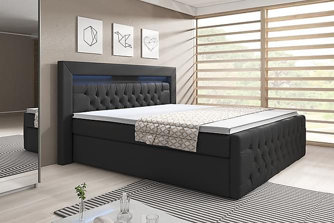 Franco Sengepakke 180x200 med Oppbevaring - Svart/Kunstlær - Møbler - Senger - Komplett sengepakke