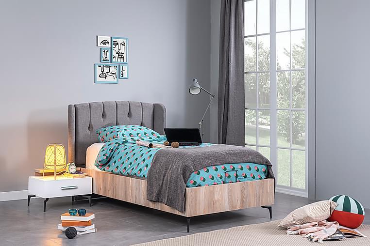 Cross storage bed 120x200 - Natur/Svart/Grå - Møbler - Senger - Sengeramme & sengestamme