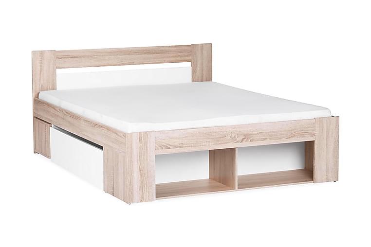Linera Sengeramme med Oppbevaring 140x200 + Nattbord - Hvit/Eik - Møbler - Senger - Sengeramme & sengestamme