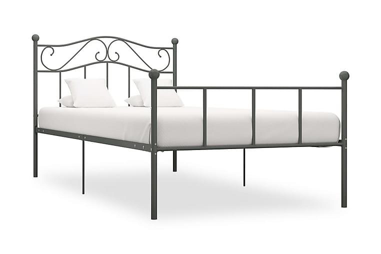 Sengeramme grå metall 100x200 cm - Grå - Møbler - Senger - Sengeramme & sengestamme