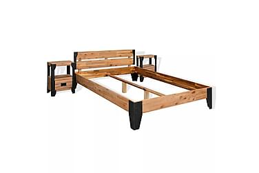 Sengeramme med 2 nattbord heltre akasie stål 140x200 cm