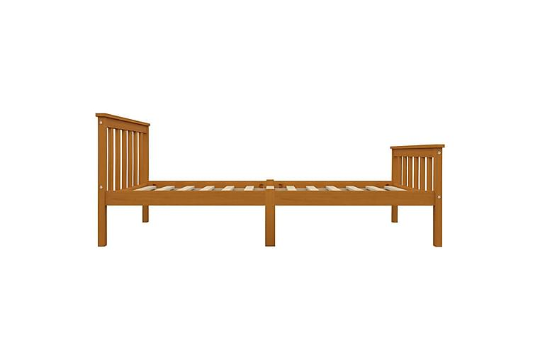 Sengeramme med 2 skuffer honningbrun heltre furu 100x200 cm - Brun - Møbler - Senger - Sengeramme & sengestamme