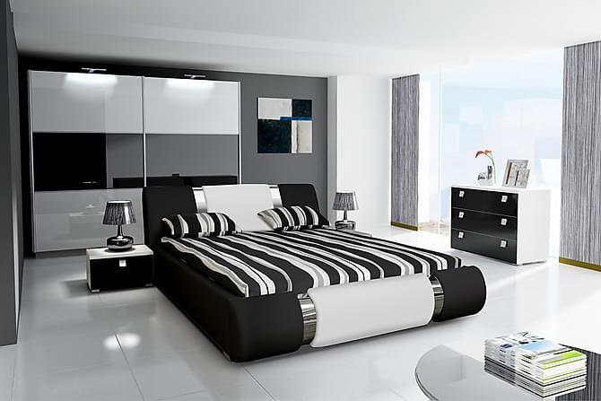 Verona Sengeramme 180x200 - Svart/Hvit - Møbler - Senger - Sengeramme & sengestamme