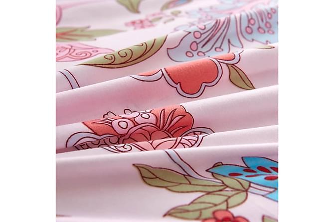 Thaisa Sengesett 3-deler 200x220/60x70 cm Blomster/Striper - Rosa - Møbler - Senger - Sengetilbehør