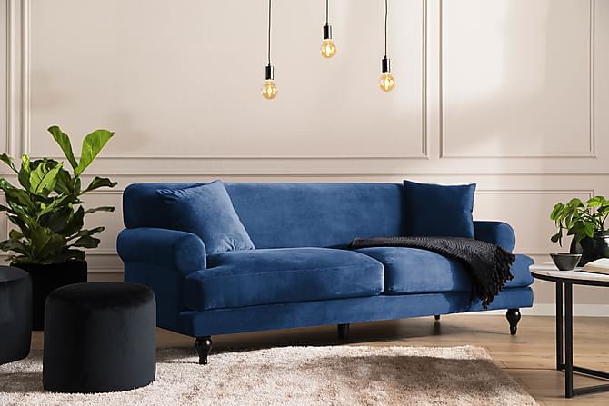 Amanda Fløyelssofa 3-seter - Midnattsblå - Møbler - Sofaer - 2-4-seters sofaer