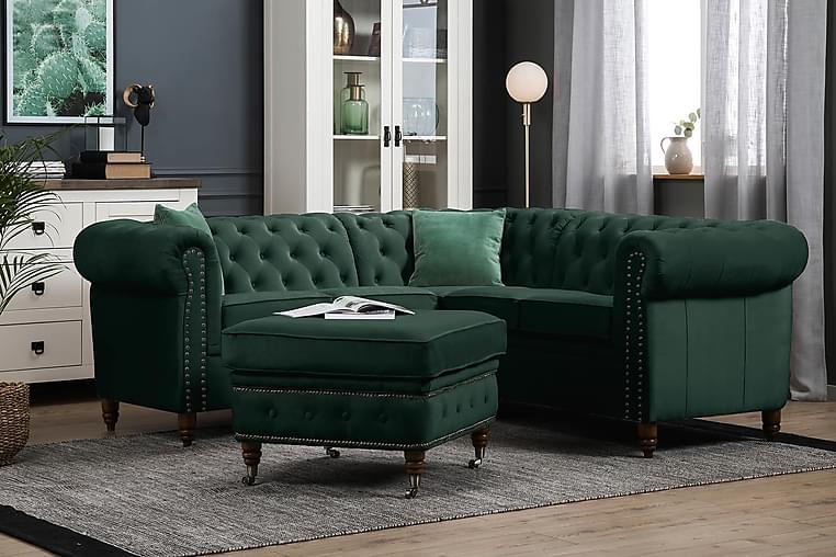 Chesterfield Deluxe Hjørnesofa Fløyel - Mørkegrønn - Møbler - Sofaer - Chesterfield sofaer