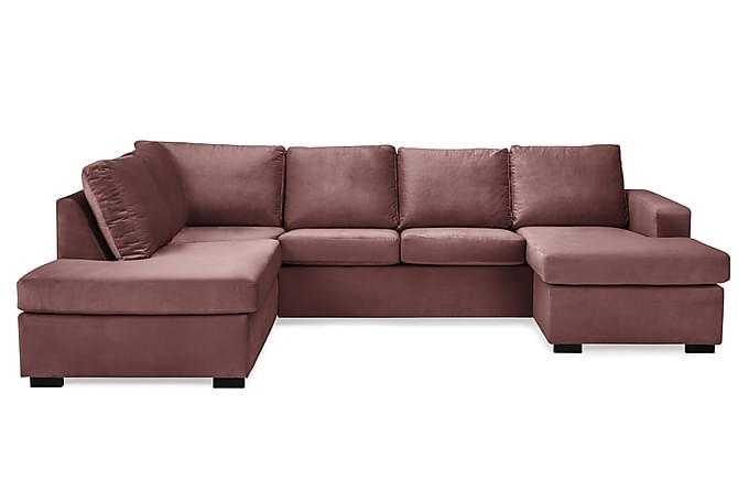 Crazy U-sofa Large Divan Høyre Fløyel - Rosa - Møbler - Sofaer - Fløyelssofaer