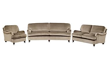 Howard Deluxe Sofagruppe 3-seter+2-seter+Lenestol Fløyel