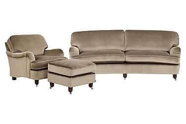 Howard Deluxe Sofagruppe 3-seter+Lenestol+Fotskammel Fløyel