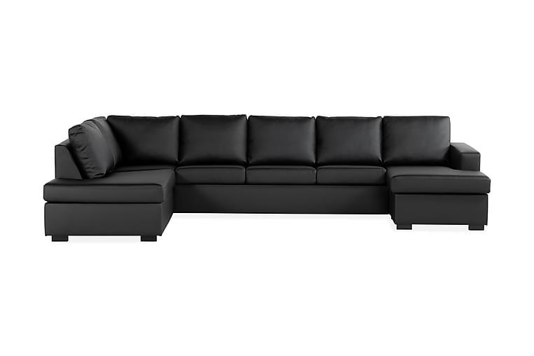 Crazy U-sofa XL Divan Høyre - Svart Kunstlær - Møbler - Sofaer - Skinnsofaer