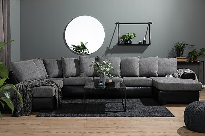 Ocean U-sofa Large med Divan Høyre Kunstlær - Grå - Møbler - Sofaer - Sofaer med sjeselong & U-sofaer