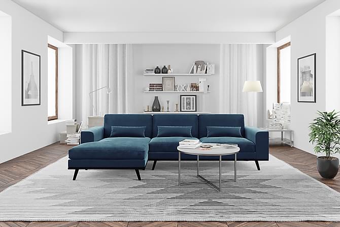 Copenhagen Divansofa Venstre Fløyel - Blå - Møbler - Sofaer - Sofaer med sjeselong & U-sofaer
