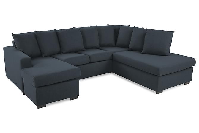 Crazy U-sofa Small Divan Venstre inkl. Konvoluttputer - Mørkeblå - Møbler - Sofaer - Sofaer med sjeselong & U-sofaer