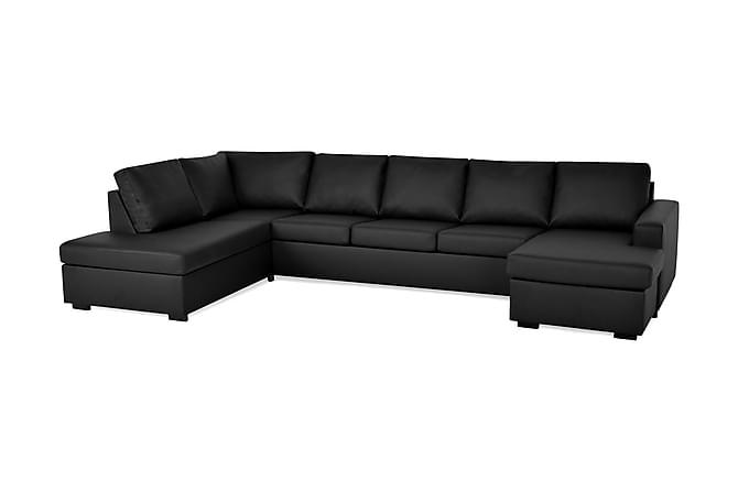 Crazy U-sofa XL Divan Høyre - Svart Kunstlær - Møbler - Sofaer - Sofaer med sjeselong & U-sofaer