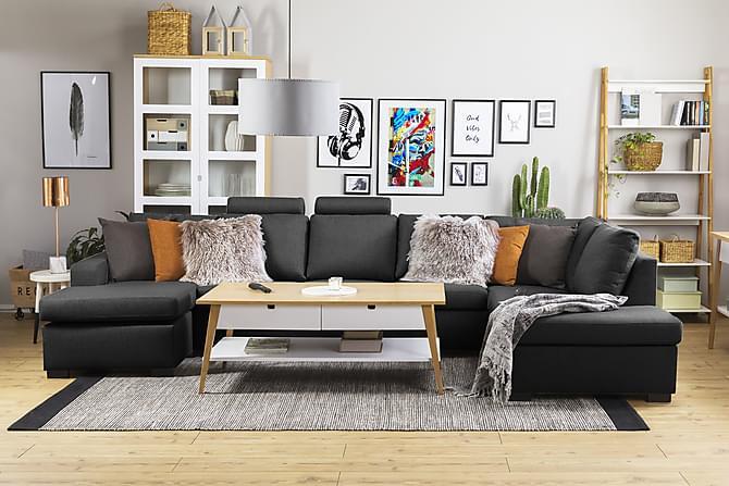 Crazy U-sofa XL Divan Venstre - Antrasitt - Møbler - Sofaer - Sofaer med sjeselong & U-sofaer
