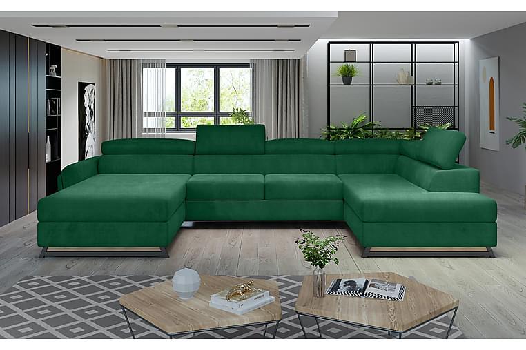 Josette U-sofa med Divan Venstre - Grønn - Møbler - Sofaer - Sofaer med sjeselong & U-sofaer