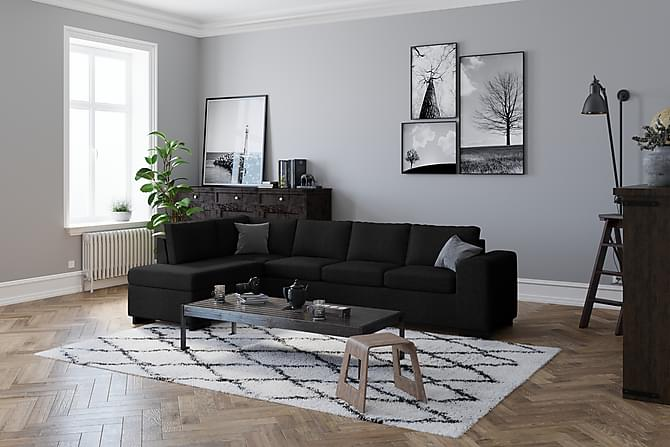 Link 4-seters Sofa med Sjeselong Venstre - Svart - Møbler - Sofaer - Sofaer med sjeselong & U-sofaer