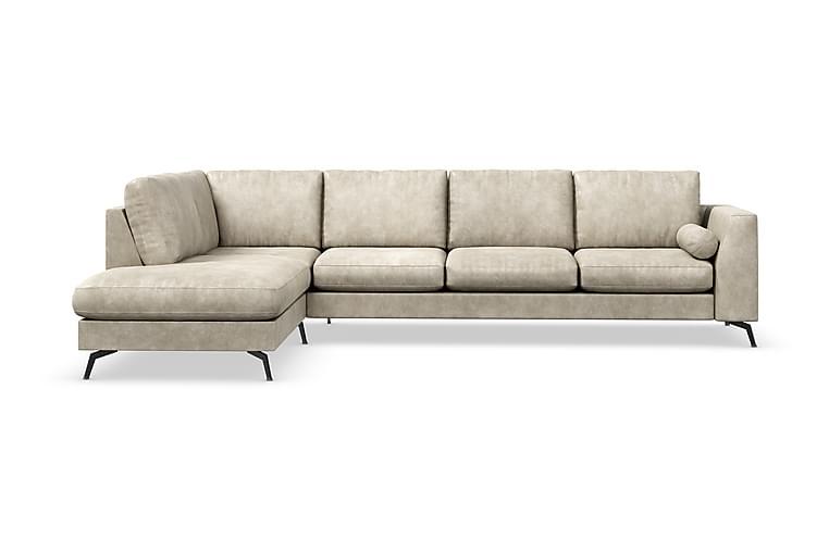 Ocean Lyx 4-seters Sofa med Sjeselong Venstre - Beige/Lær - Møbler - Sofaer - Sofaer med sjeselong & U-sofaer