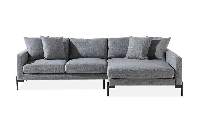 Skonsam Divansofa Høyre med Pynteputer - Grå - Møbler - Sofaer - Sofaer med sjeselong & U-sofaer