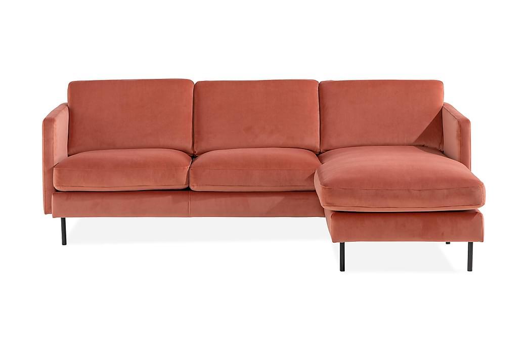 Teodin Fløyelssofa 2-seters med Divan Høyre - Rosa - Møbler - Sofaer - Sofaer med sjeselong & U-sofaer