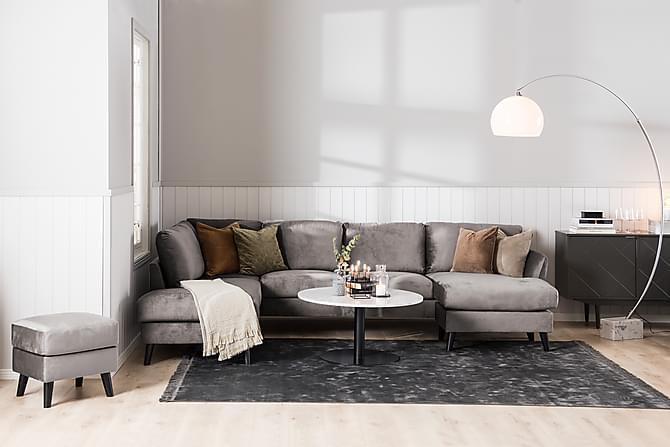 Trend Divansofa 3-seter Høyre Fløyel - Mørkegrå - Møbler - Sofaer - Sofaer med sjeselong & U-sofaer