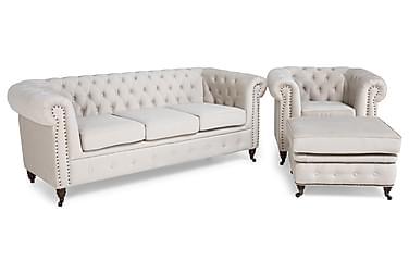 Chesterfield Deluxe Sofagruppe 3-seter+Lenestol+Fotskammel