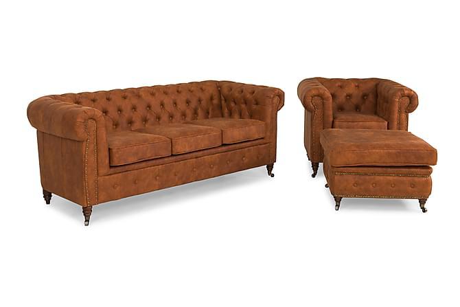 Chesterfield Deluxe Sofagruppe 3-seter+Lenestol+Fotskammel - Konjakk - Møbler - Sofaer - Sofagrupper