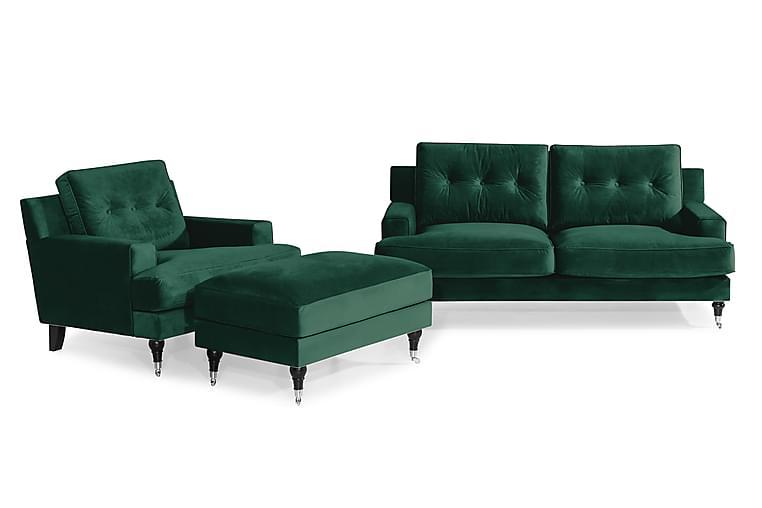 Dalby Sofagruppe 2-seter+Lenestol+Fotskammel Fløyel - Amber - Møbler - Sofaer - Sofagrupper