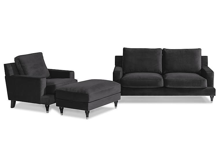 Djursholm Sofagruppe 2-seter+Lenestol+Fotskammel Fløyel - Midnattsblå - Møbler - Sofaer - Sofagrupper