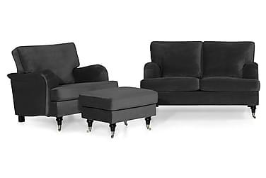 Howard Classic Sofagruppe 2-seter+Lenestol+Fotskammel Fløyel