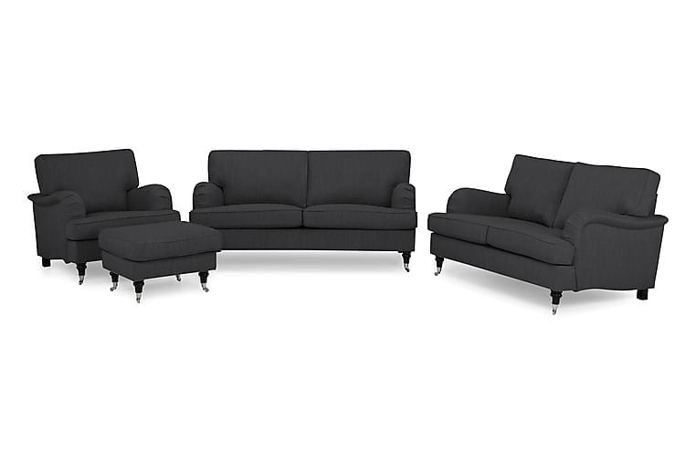 Howard Classic Sofagruppe 3+2-seter+Lenestol+Fotskammel - Antrasitt - Møbler - Sofaer - Sofagrupper