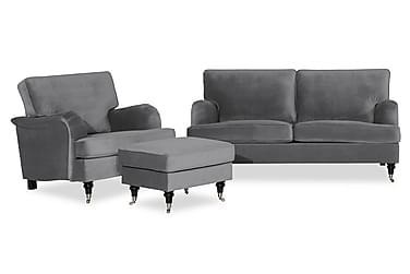 Howard Classic Sofagruppe 3-seter+Lenestol+Fotskammel Fløyel