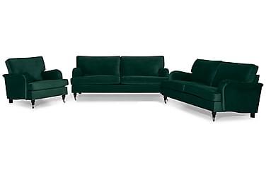 Howard Classic Sofagruppe 3,5-seter+3-seter+Lenestol Fløyel