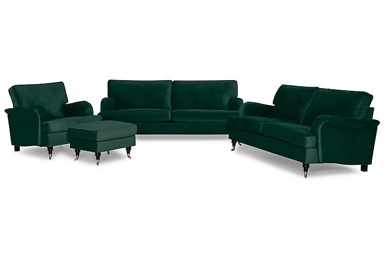 Howard Classic Sofagruppe 3,5-seter+3-seter+Lenestol+Fotskam - Mørkegrønn - Møbler - Sofaer - Sofagrupper