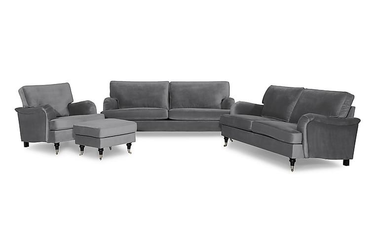 Howard Classic Sofagruppe 3,5-seter+3-seter+Lenestol+Fotskam - Sølvgrå - Møbler - Sofaer - Sofagrupper