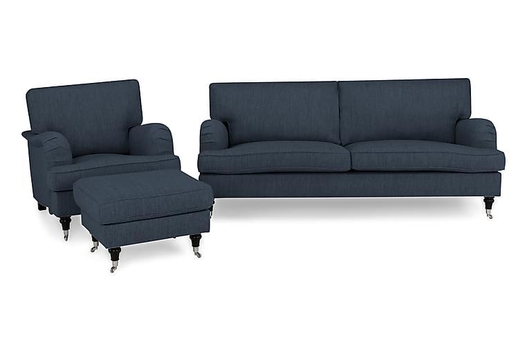 Howard Classic Sofagruppe 3,5-seter+Lenestol+Fotskammel - Mørkeblå - Møbler - Sofaer - Sofagrupper