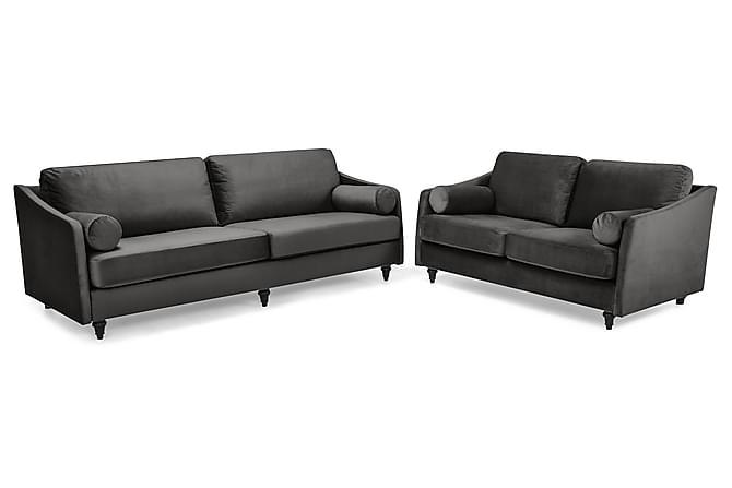 Mirage Sofagruppe 3-seter+2-seter Fløyel - Mørkegrå - Møbler - Sofaer - Sofagrupper