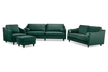 Mirage Sofagruppe 3-seter+2-seter+Lenestol+Fotskammel Fløyel