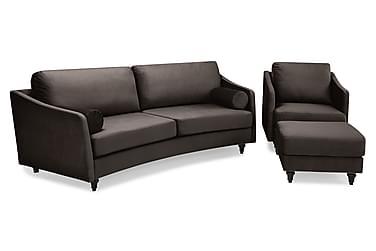 Mirage Sofagruppe Buet 3-seter+Fotskammel Fløyel