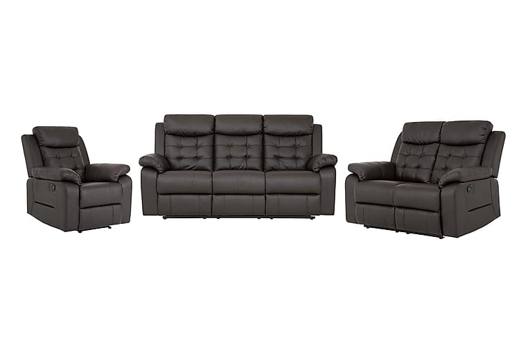 Munari Sofagruppe 3-seter+2-seter+Lenestol Kunstlær - Brun - Møbler - Sofaer - Sofagrupper
