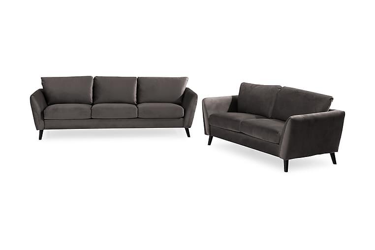 Trend Sofagruppe 3-seter+2-seter Fløyel - Mørkegrå - Møbler - Sofaer - Sofagrupper