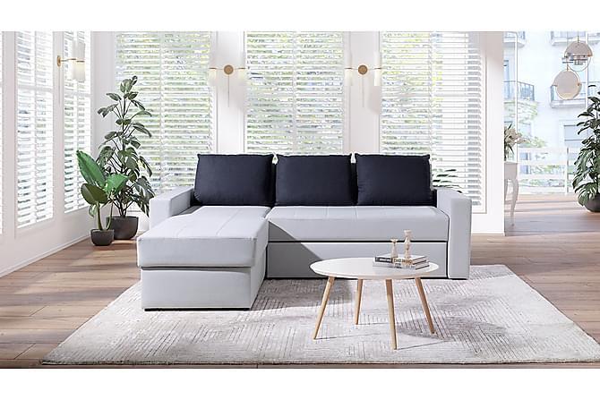 Hjørnesofa DOMINO - Grå/Hvit - Møbler - Sofaer - Hjørnesofaer