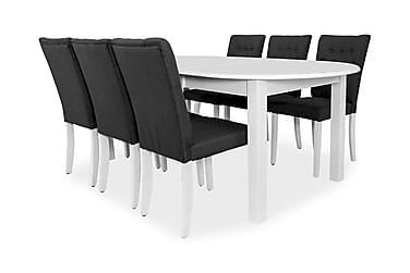 Bella Forlengningsbar Spisegruppe 160 cm Oval med 6 Åsa Stol
